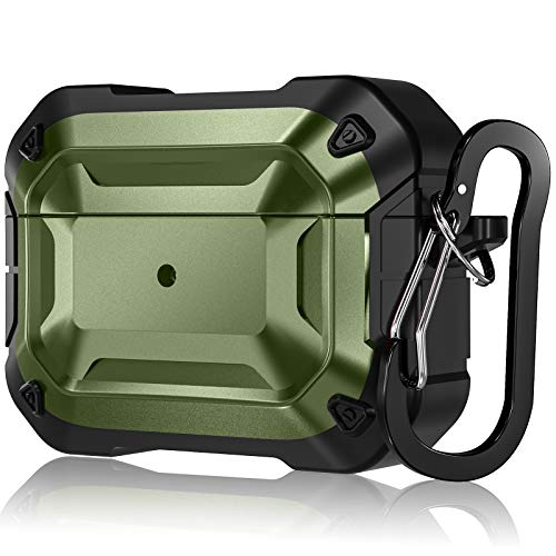 Mastten Headphone Cases Compatible with AirPods Pro Case Cover, Flexible Hard Shield Design, Durable PC/TPU Protective Charging Case Skin with Carabiner, Dark Green