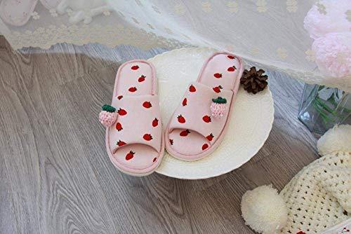 CDNS Zapatillas de casa Casual, Polvo de fresa, boca de boca, boca abierta, zapatillas de piso con punta abierta Zapatillas de interior suaves y livianas Desgaste holgado Zapatos de casa de i