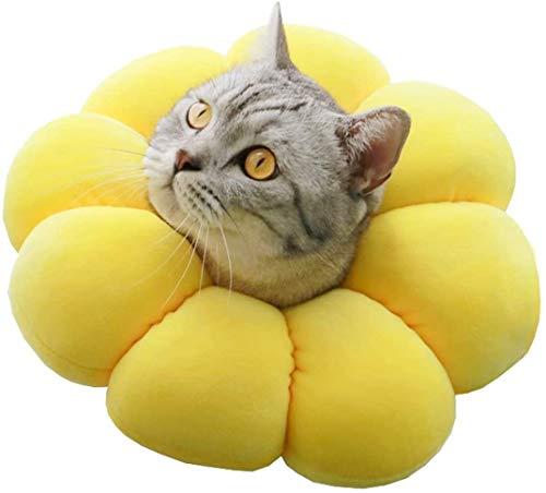 エリザベスカラー 猫 犬用 ソフト 柔らかい 可愛い 軽量 通気性抜群 傷舐め防止 介護 (M)