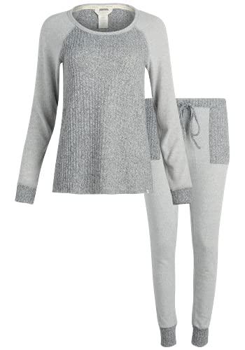 Lucky Brand Women's Pajamas - 2 Piece Ribbed Hacci Sleepwear Set (Size: S-XL), Size Medium, Heather Grey