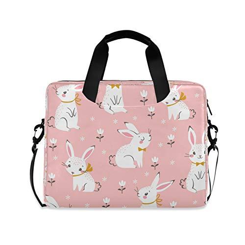 Yulife Cute Floral Bunny Laptop Bag Sleeve Case for Women Men Rabbit Animals Briefcase Tablet Messenger Shoulder Bag with Strap Notebook Computer Case 14 15.6 16 Inch for Kids Girls Business