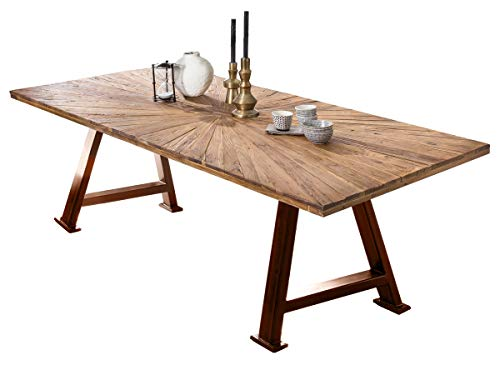 LaNatura Tables&Co Tisch 220x100 Balkeneiche Natur Metall Braun