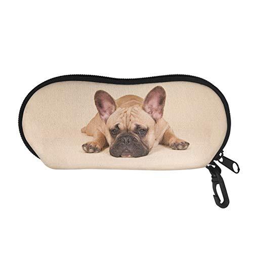 QIZHAOLAN Soft Glasses Case Sunglasses Pouch French Bulldog Eyeglasses Sleeve Lightweight for Picnic Travel Hiking Beach Outside