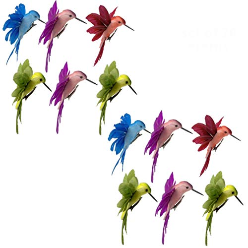 Hummingbird Clip on Ornaments -Assorted Colored Birds with Attached Clip Approx 4.5 Inches Wide - Craft Birds Set of 12 Humming Birds Decorations on Clips- Great for DIY Wreaths Centerpieces Home…