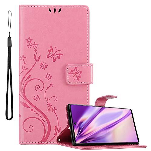 Cadorabo Funda Libro para Samsung Galaxy Note 10 en Rosa Floral – Cubierta Proteccíon en Diseño de Flor con Cierre Magnético, Función de Suporte e 3 Tarjeteros - Etui Case Cover Carcasa