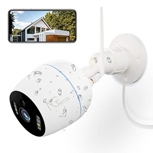 Security Camera Outdoor, NGTeco 1080P HD WiFi Wireless Cameras for Home Security System - 360 Waterproof Bullet Surveillance IP Cam with Sensor Night Vision, 2-Way Audio, Cloud/SD Storage