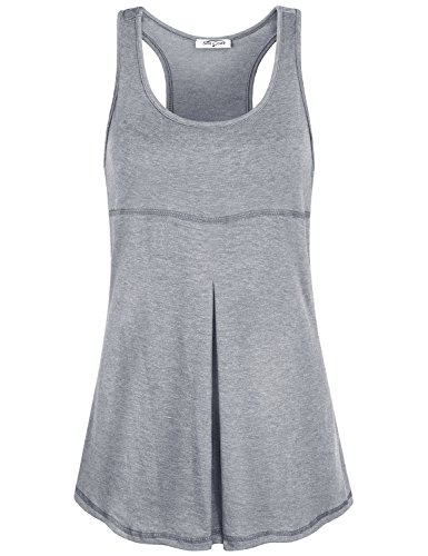 SeSe Code Wing Tank for Women, Juniors Summer Racerback Scoop Neck Sleeveless Front Pleats Tunics Stitching Designs Slim Fitted Elastic Fabric Solid Color Running Tops Dark Grey Medium
