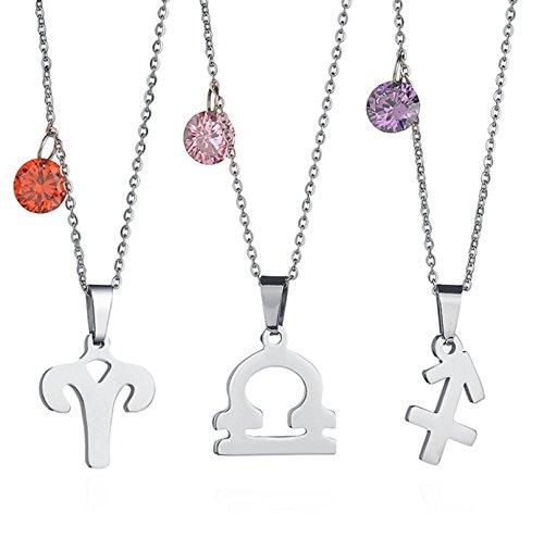 Aooaz Schmuck Halskette mit Anhänger 12 Sternzeichen Geburtsstein Zirkonia Kristallanhänger Sternbild Kette, 19,68