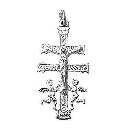 Sebaoth Cruz Caravaca Cristo Realce Angeles - 4cm Relieve - Plata Ley 925m - Bendecida y Fabricada en Caravaca