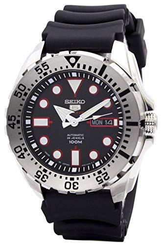 Seiko 5 Sports SRP601J1 Reloj de buceo automático japonés, correa de resina negra, 100 m, para hombre