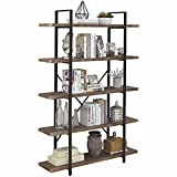 SUPERJARE 5-Shelf Industrial Bookshelf, Open Etagere Bookcase with Metal Frame, Rustic Book Shelf, Storage Display Shelves, Wood Grain - Distressed Brown