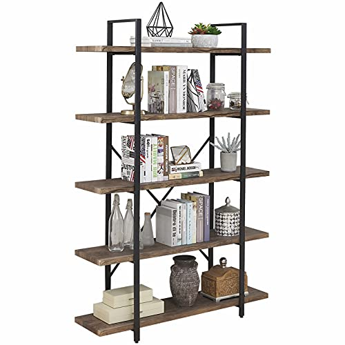 SUPERJARE 5-Shelf Industrial Bookshelf, Open Etagere Bookcase with Metal Frame, Rustic Book Shelf,...