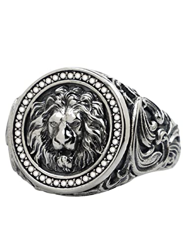 Puuuk Viking Punk Animal Lion Jewelry Lion Totem Ring, Hombres S925 Silveramulet Ring Gothic Locomotive Jewelry Gift,Plata