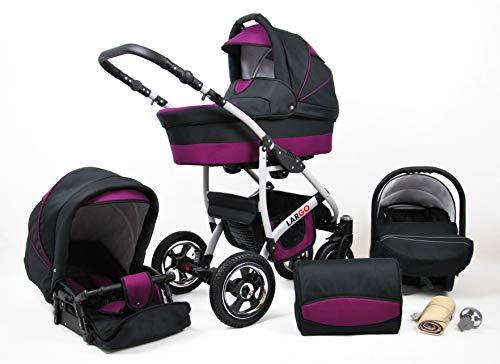 Kinderwagen 3in1 2in1 Set Isofix Buggy Babywanne Autositz New L-Go by SaintBaby Schwarz & Lila 3in1 mit Babyschale