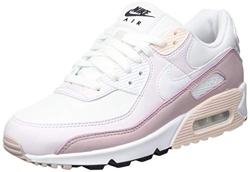 Nike W Air Max 90, Chaussure de Course Femme, White White Champagne Lt Violet Black Orange Pearl, 40 EU