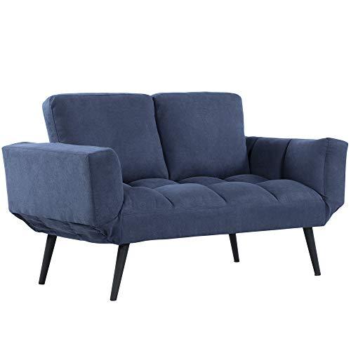 HOMCOM Schlafsofa Klappsofa 2-Sitzer Stoffsofa Bettsofa Sofa mit Schlaffunktion Sofagarnitur Samt Metall Blau 151 x 75 x 83 cm