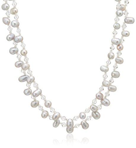[ピュアパール] Pure Pearl 淡水パール&クリスタルガラス きらきら ネックレス グレー クリッカー付き PP1111N-GY(100)
