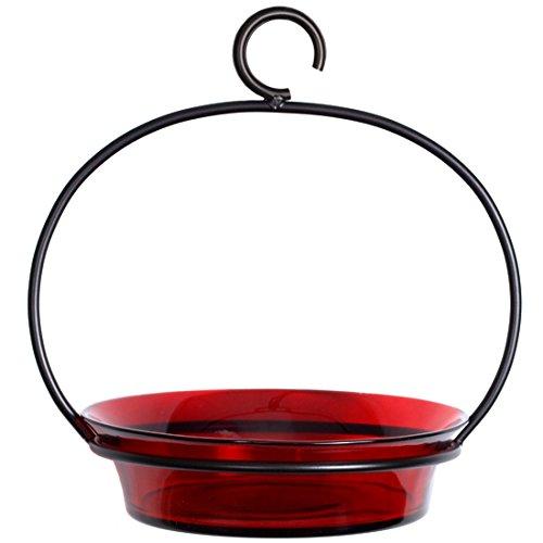 My Eco Glass Mosaic Birds M337-200-06 Cuban Hanging Bird Bath or Feeder Red
