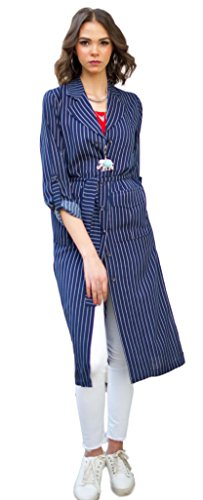 The Gallery Women#039s Viscose Long Stripped Blouse Blue S