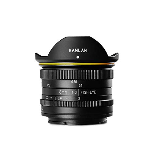 Kamlan - Lente de 8 mm F3.0 APS-C gran angular de enfoque fijo, objetivo manual puro sin espejo, compatible con Canon Fuji Sony E (compatible con Canon M)