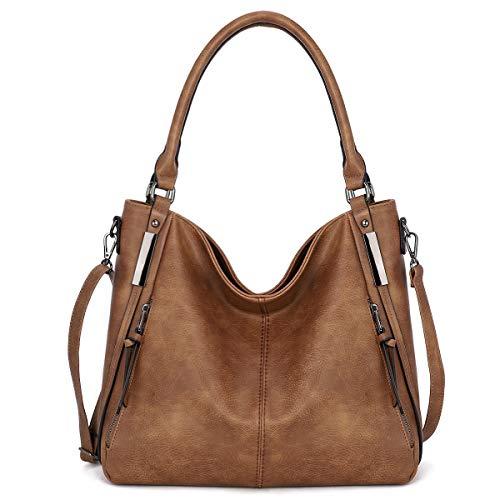 KL928 Purses for Women Shoulder Handbag Top Handle Hobo Tote Bags, PU Leather (Brown)