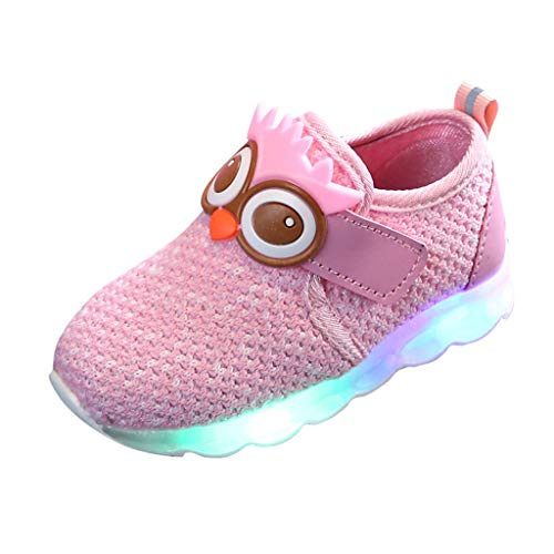 Vielone_Lumi Toddler Kids Boys Girls Cute Owl LED Mesh Sneakers Light up Hook and Loop Tennis Shoes Luminous Breathable Walking Shoes Flashing Hiking Boots for Outdoor Sports