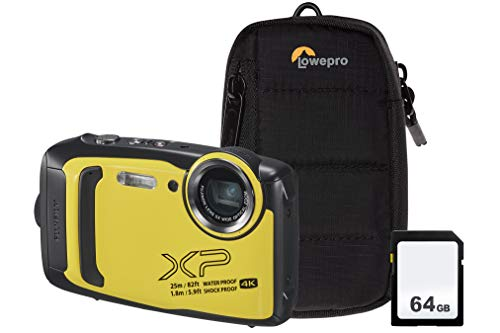 Fujifilm Finepix XP140 Kameraset, inkl. 64 GB SD-Karte und Bumper, Gelb