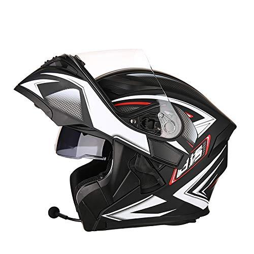 Casco motocicleta modular Bluetooth Casco de motocicleta integrado Hd Negro Marrón Lente Auriculares y micrófono integrados Carreras de cara completa 2,XXXL=63-64CM