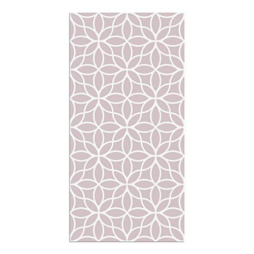 Alfombra Vinílica Cocina Flores, Color Rosa, 80 x 40 x 0.22 cm, Alfombra de Vinilo de Varios Tamaños con Base Antideslizante, Material Lavable y Recortable, ALV-100