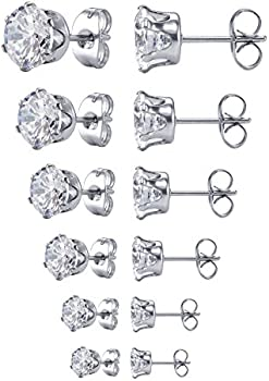 Jstyle Women's Stainless Steel Round Clear Cubic Zirconia Stud Earring