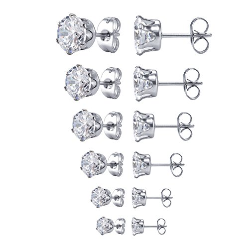 Jstyle Jewelry Womens Stainless Steel Round Clear Cubic Zirconia Stud Earring (6 Pairs)