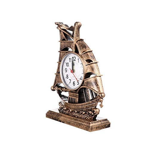 ZLHW Retro velero despertador reloj náutico barco barco estatuilla tiempo tiempo afortunado fengshui mesa escritorio reloj de noche escritorio decoración sin batería para hombres mujeres regalo dorado
