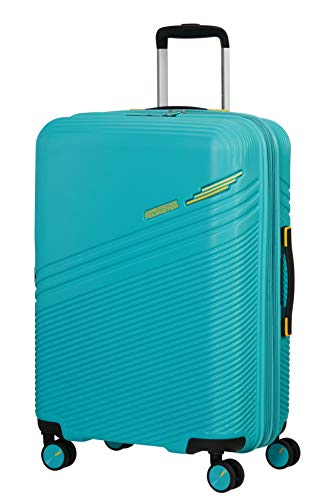 American Tourister Triple Trace - Spinner M - Maleta expansible, 67 cm, 69,5/79,5 L, turquesa (turquesa y amarillo)
