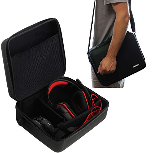 Navitech Black Rugged Headphone/Headphones Case Cover Compatible with The Audio-Technica ATH-A990Z