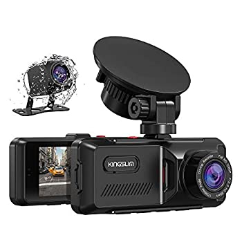 Kingslim D1 Dual Dash Cam with Built-in GPS 1080P Front and Rear Dash Cam for Cars Parking Emergency & Security Monitoring Motion Detection 3.16   IPS Wide Screen 170° FOV Card Not Included