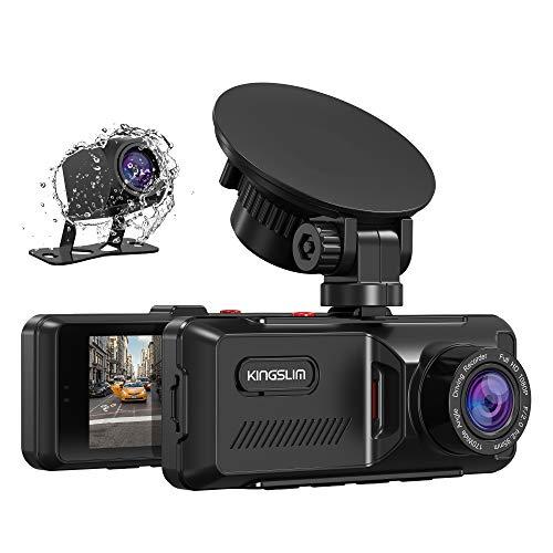 Kingslim Dual Dashcam mit GPS, 1080P FHD Vorne und Hinten Autokamera mit 3.16 Zoll-IPS-Bildschirm 170°, G-Sensor, WDR, Loop-Aufzeichnung, Notfallaufzeichnung, Parkmonitor, Bewegungserkennung-D1