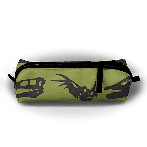 Dinosaur Skull Silhouette Pen Pencil Stationery Bag Makeup Case Travel Cosmetic Brush Accessories Toiletries Pouch Bags Zipper Resistance Carry Handle Power Lines Hanging Handbag Documents