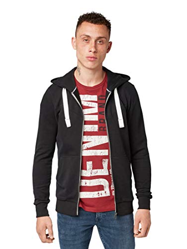 TOM TAILOR Denim Herren Hoody Sweatjacke, Schwarz (Black 29999), Medium (Herstellergröße: M)