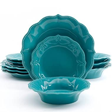 12-Piece Paige Dinnerware Set in Turquoise