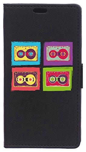 BeCool Funda Libro para Xiaomi Mi6- Carcasa con función Soporte, Ranuras para tarjetes y Billetes, Diseño Pop Art radiocassetes