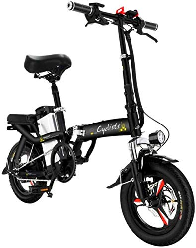 Electric Bike Electric Mountain Bike, Fast Electric Bikes for Adults Foldable Portable Bikes Detachable Lithium Battery 48V 400W Adults Double Shock Absorber Bikes with 14 inch Tire Disc Brake and Ful