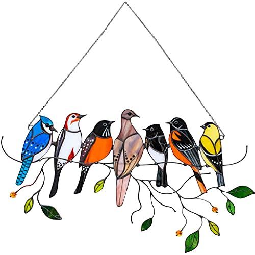 Glasmalerei Vogel,vögel Ornamente Hängen,buntglas Fensterbild,fensterdeko Vögel Hängend,Sonnenfänger,Buntglasfenster Vögel Hängende, Für Zu Hause,Wohnkultur(7 Vögel)