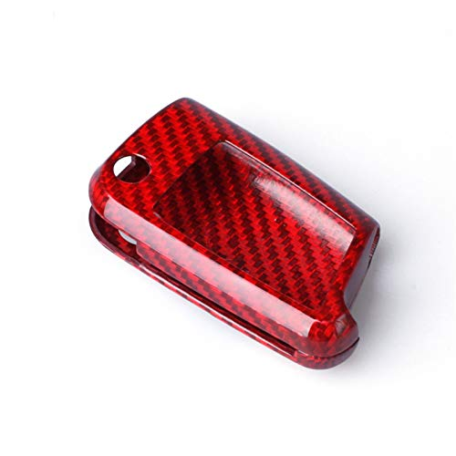 SFUO Accesorios de fibra de carbono CUBIERTA DE CUCHA CUBIERTA AJUSTE PARA VOLKSWAGEN GOLF 7 MK7 FIT FOR PARA SKODA OCTAVIA A7 SEAT LEON IBIZA Flip Remoto plegable (Color Name : Red)
