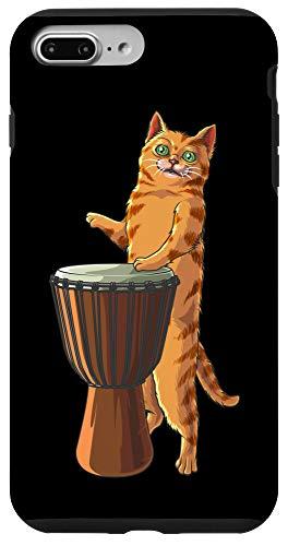 iPhone 7 Plus/8 Plus Funny Cat Playing Djembe Gift | Cute Kitten Musician Fan Case