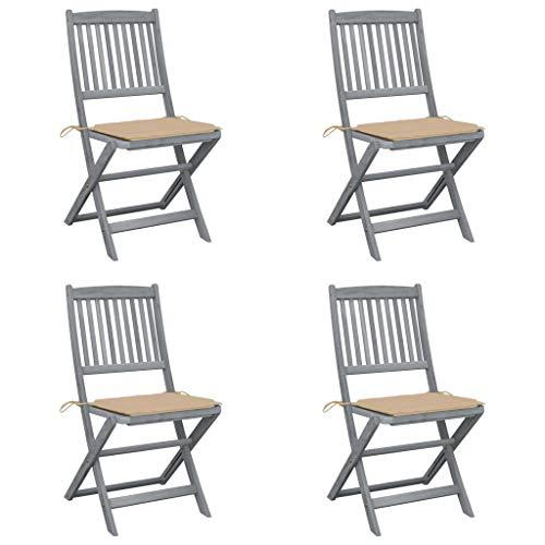 vidaXL 4X Akazienholz Massiv Gartenstuhl Klappbar mit Kissen ohne Armlehnen Klappstuhl Holzstuhl Essstuhl Stühle Stuhl Gartenstühle Holzstühle