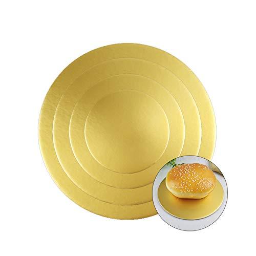 Guanici Rund Kuchenplatte Tortenunterlage Kuchenplattz Cake Drum beschichtet Kuchenplatte Tortenplatte mit Antihaftbeschichtung für Kuchen und Torten 8er Set, 3mm Dick (Gold, 6 8 10 12 Zoll)