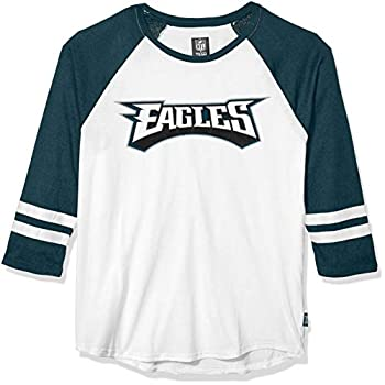 Ultra Game NFL Philadelphia Eagles Mens Raglan Baseball 3/4 Long Sleeve Tee Shirt White Medium