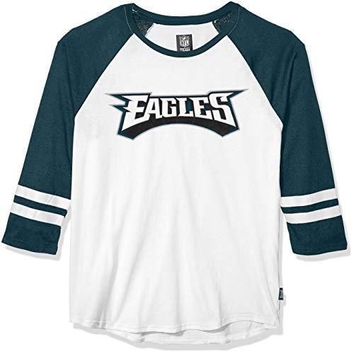 Ultra Game NFL Philadelphia Eagles Mens Raglan Baseball 3/4 Long Sleeve Tee Shirt, White, Medium