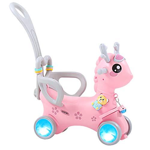 ZHKXBG Baby Schaukelpferd, Kinder Schaukel, Kind Schaukel Tier, Indoor Outdoor Baby Schaukelstuhl, Geschenk für 1-3Y,Rosa,Pulley