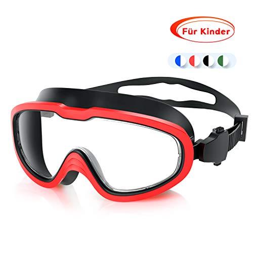 QcoQce Unisex Schwimmbrille,Schwimmbrillen Linse Verstellbar Gurt mit UV-Schutz und Anti Nebel,Taucherbrille für Erwachsen und Kinder Einschließen Ohrstöpsel und Nasenklammern (Schwarz Rot Kinder)